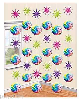 PACK OF 6 DISCO FEVER PARTY STRINGS HANGING DECORATIONS BALLS STARS CUOUTS