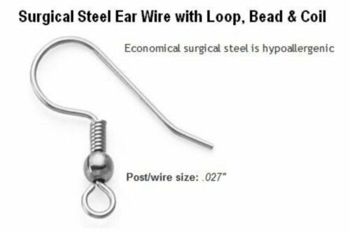 50 French Ear Wire Hooks Hypo-Allergenic Surgical Quality Stainless Steel