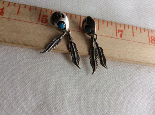 Sterling Silver Bear Claw Turquoise Dangle Earrings Pierced