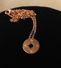 Rose Gold or Silver Plated Stainless Steel Compass Design Pendant Necklace