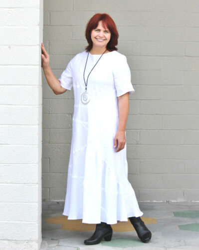 ETHYRIA Romantic Edwardian LINA DRESS Long Bias Cut Patchwork  S M L XL WHITE