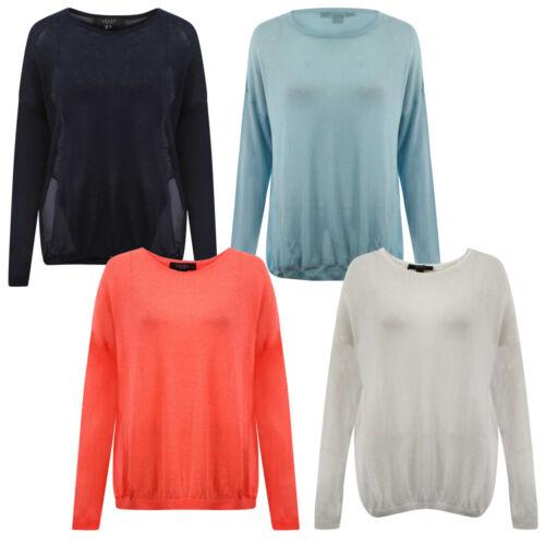 New Womens Amara Reya Ladies Knitted Chiffon Jumper Long Sleeve Top Size 8-16