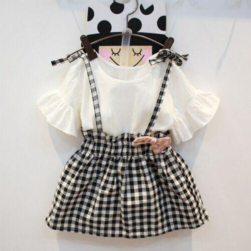 Toddler Girls Clothes Sets T Shirt+Plaid Suspender Dress   Children Clothing