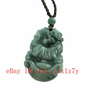 Happy Lucky Chinese Zodiac Ox Yuanbao Coins Natural Jade Jadeite Amulet Pendant
