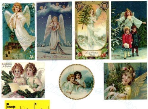 DOLLSHOUSE Miniature Vintage Christmas Angels Print  Set CDHM  1:12