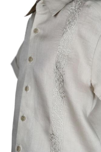 Boys Khaki 100/% Linen Set 2 pc Floral Embroidered Shirt /& Pant Sizes 4 to 18