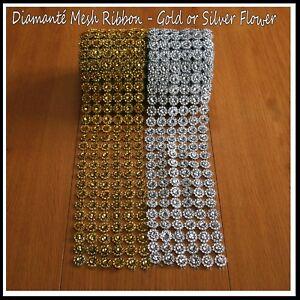 1 Metre Sunflower Stud Diamante Effect Mesh Ribbon Trim Wedding Cake Decoration