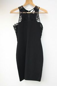 Mason-Black-Bodycon-Mini-Dress-with-Lace-Chest-Panel-Size-S