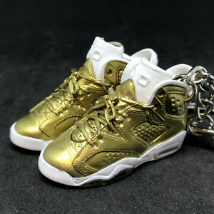 meet 17ecb 7eb9e Details about PAIR AIR JORDAN VI 6 RETRO PINNACLE GOLD OG 3D KEYCHAIN  SNEAKERS 1:6 FIGURE SHOE