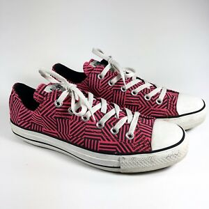 173bed5cccdd48 Details about Converse All Star Low Mens 8 Womens 10 Pink Black Stripe  Pattern E5