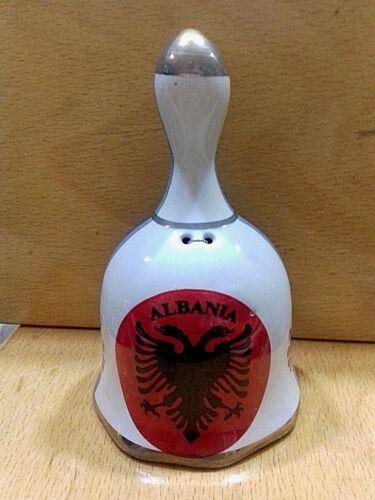 NEW ALBANIA PORCELAIN BELL-EAGLE EMBLEM DECORATIVE BELL-COLLECTIBLE-10.5 x 6 cm