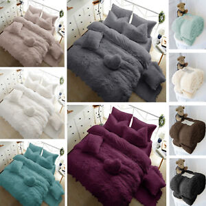 Fleece-TEDDY-BEAR-Duvet-Quilt-Cover-Warm-amp-Cozy-OR-Fitted-Sheet-Pillow-Cases