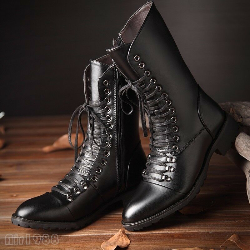 Fashion Men's Winter Boots Military Lace up High Top Combat Motorcycle Boots Sho
