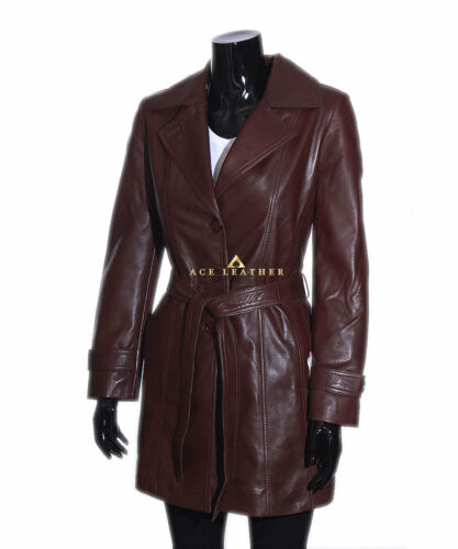 Rebecca Brown Knee Length Designer Ladies Retro Real Lambskin Leather Jacket
