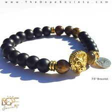 Black Matte Onyx Bead Bracelet, Tiger Eye Bead Bracelet, Gold Lion Head Bracelet
