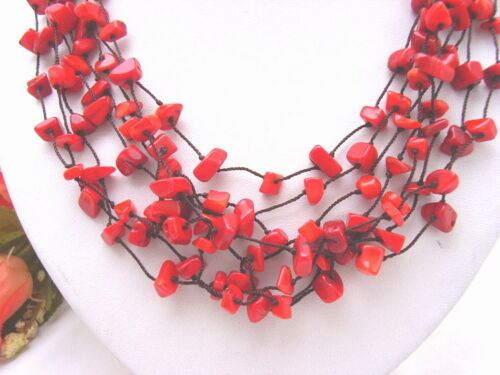 """18.5/"""" 8 strds Corail Rouge Chips Collier"""