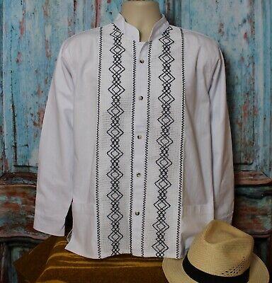 Latin American Men/'s Guayabera Shirt Bright White Mandarin Collar made in Mexico