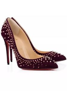 buy popular 80793 623ae Details about $1095 New Christian Louboutin Escarpic 100 Merlot Suede Spike  Pigalle Pump 37