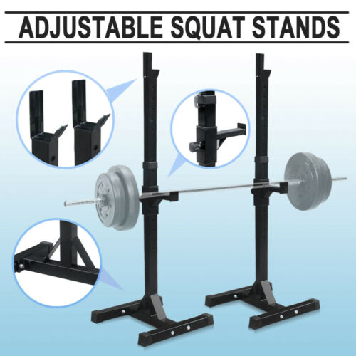 Squat Rack Adjustable Bench Press Weight Exercise Barbell Stand Gym Fitness