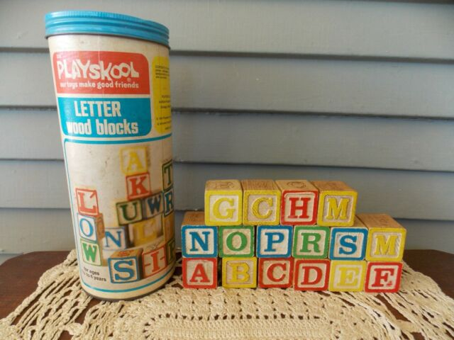 Vintage 1974 Playskool Letter Wood Blocks 226