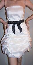 WHITE STRAPLESS Jr Dress Sz L BALLOON-Mini-Skirt Ribbon-Belt PARTY COCKTAIL NWOT