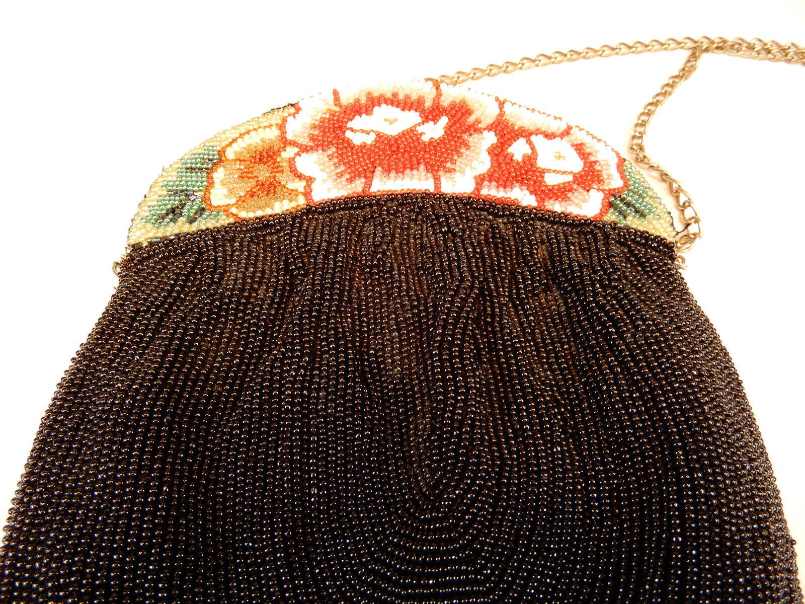 Perles Sachet attaches fines perles SAC NOIR FLEURS PERLES DE DE PERLES VERRE 22 x 17 cm 758d43