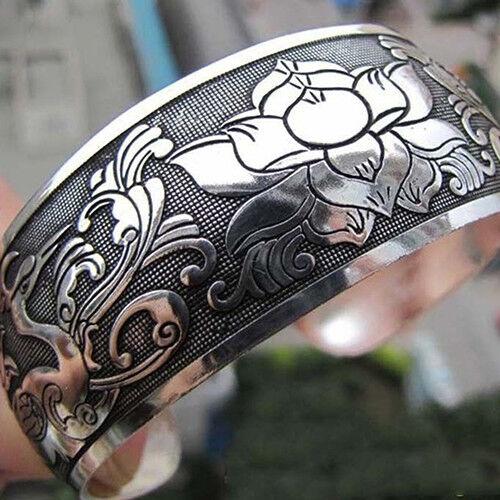 HK- Women Vintage Ethnic Open Jewelry Tibetan Silver Bangle Wide Cuff Bracelet C Bracelets