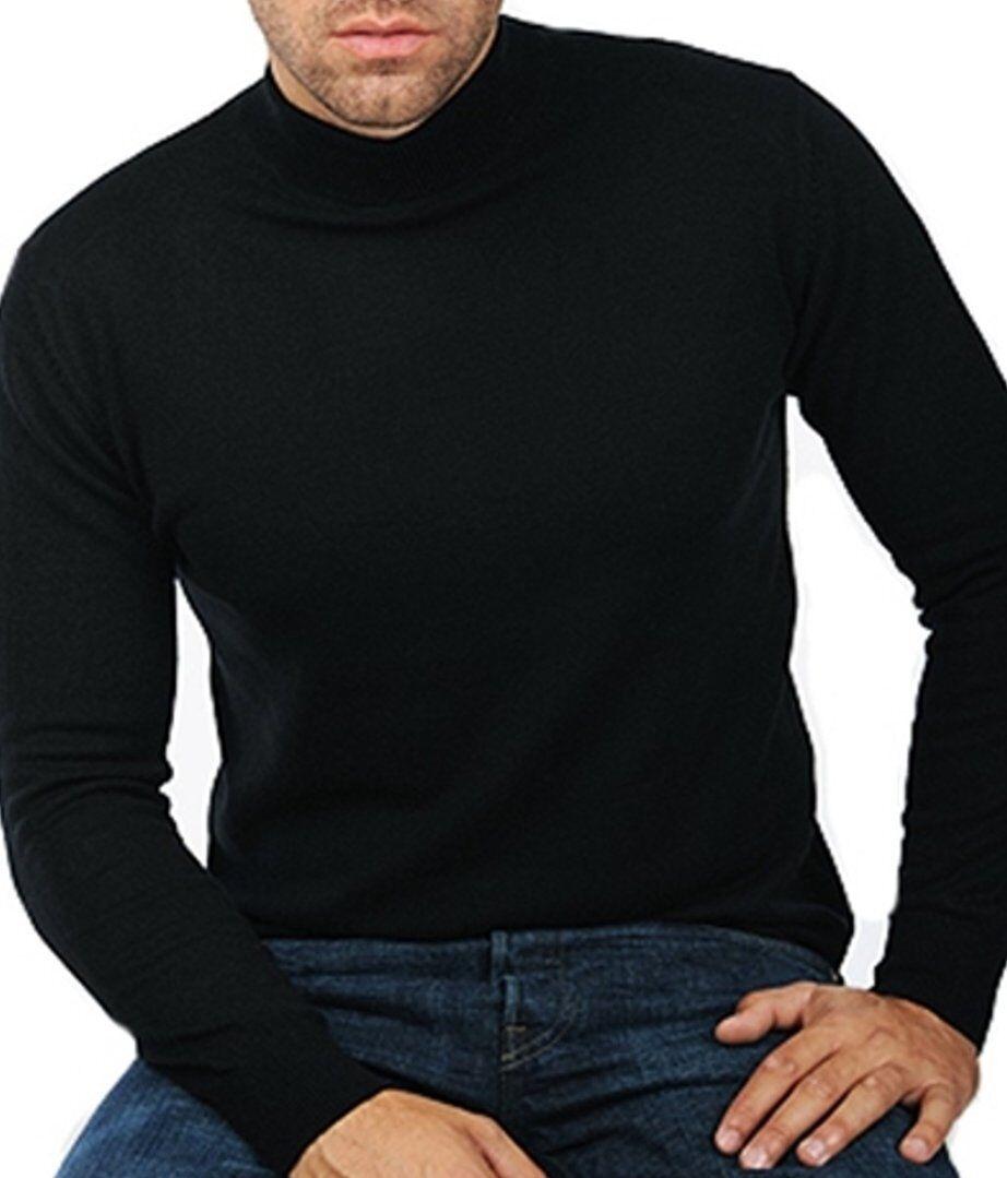 Balldiri 100% Cashmere Herren Pullover Stehkragen 2-fädig schwarz XS