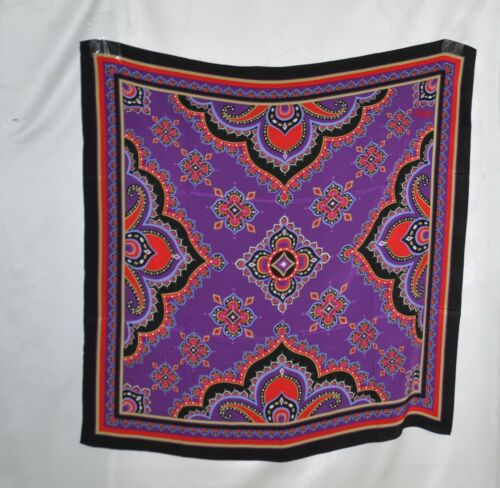 Bob Mackie Imperial Paisley Square Scarf -Purple Multi