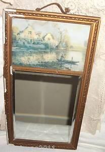 miroir biseaute trumeau sur cadre bois patine dore a restaurer avec litho ebay. Black Bedroom Furniture Sets. Home Design Ideas