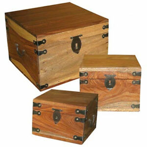 Image Is Loading Set 3 Solid Sheesham Wooden Bo Square Storage
