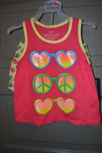 Faded Glory Girls 2 Piece  Short Set Size  NWT Hearts Peace