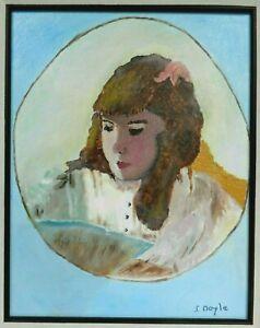 "M. JANE DOYLE SIGNED ORIGINAL ART OIL/CANVAS PAINTING ""LILY"" (PORTRAIT) FRAMED"
