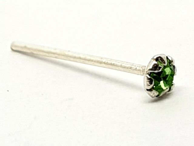 Nose Stud Peridot Gemstone 2mm Round Crystal 22g (0.6mm) 925 Silver L Bendable