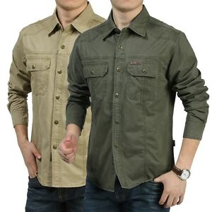 Hot men 39 s casual long sleeve army cargo shirt work for Mens military style long sleeve shirts
