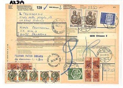 Az319 1980 Switzerland High Values Minusio *insured Mail* Card Italy Pts