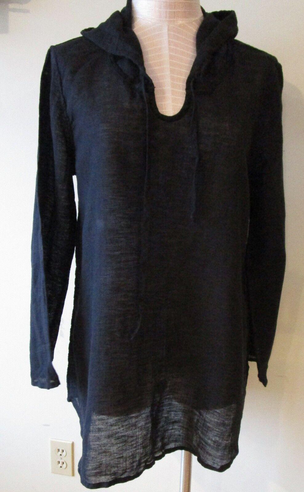 FLAX  Designs  LINEN Hoodie Tunic Shirt   S   &  L  NWOT  schwarz Voile