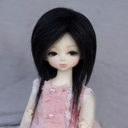"""Fashion Black Long Wool Wig Hair MSD AOD DZ 1//4 BJD Dollfie 7-8/"""" PF"""