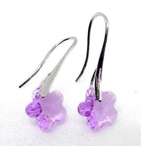 Women-Swarovski-Element-Lilac-Crystal-White-Gold-Plated-Drop-Xmas-hooks-Earrings