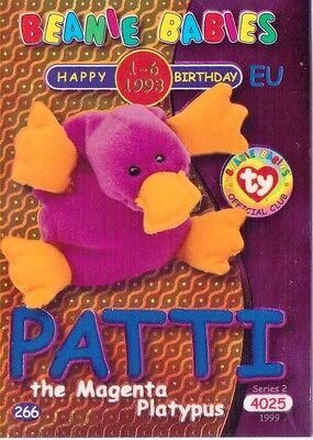 Ty S2 Beanie Card Birthday PATTI PLATYPUS BLUE EUROPE  EUROPEAN VERSION