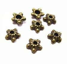 24pc 6mm antique bronze metal bead cap-4389