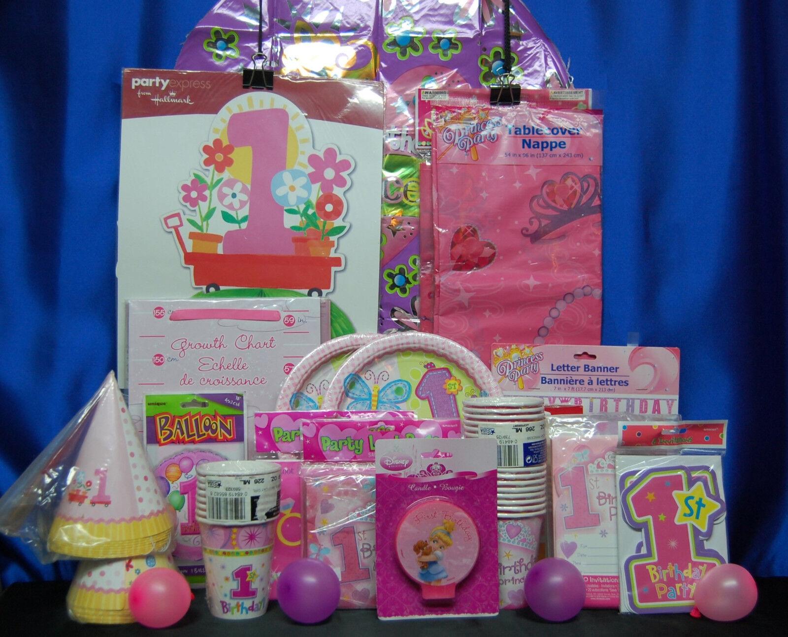 1st Birthday Princess Party Set 22 Girl Supplies Favors 2b6846