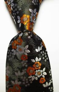 New-Classic-Floral-Black-White-Orange-JACQUARD-WOVEN-100-Silk-Men-039-s-Tie-Necktie