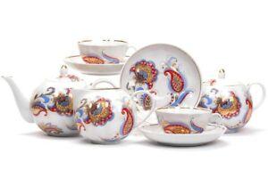 Russian-Porcelain-Tea-set-w-Paisley-Pattern-by-Dulevo-Kuznetsov-Russia