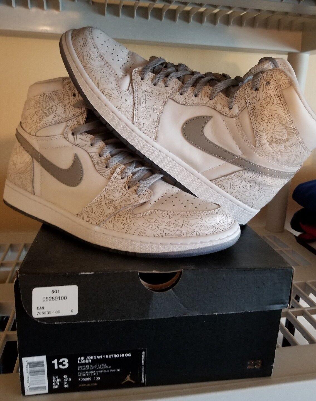 Nike Air Jordan 1 Retro Hi OG Laser Men's Sz 13 White Metallic Silver 705289-100
