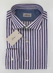 NIB-BRIONI-Blue-Striped-Cotton-Slim-Fit-Dress-Shirt-Size-Large-595