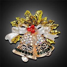Christmas Bell Brooch Pin W Swarovski Crystal Xmas Gift Clothing Decoration JR