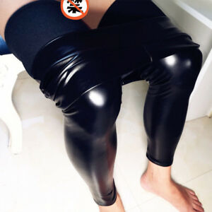 6f78aada30a55 Image is loading Men-Sexy-Wetlook-Faux-Leather-Leggings-Skinny-Pouch-