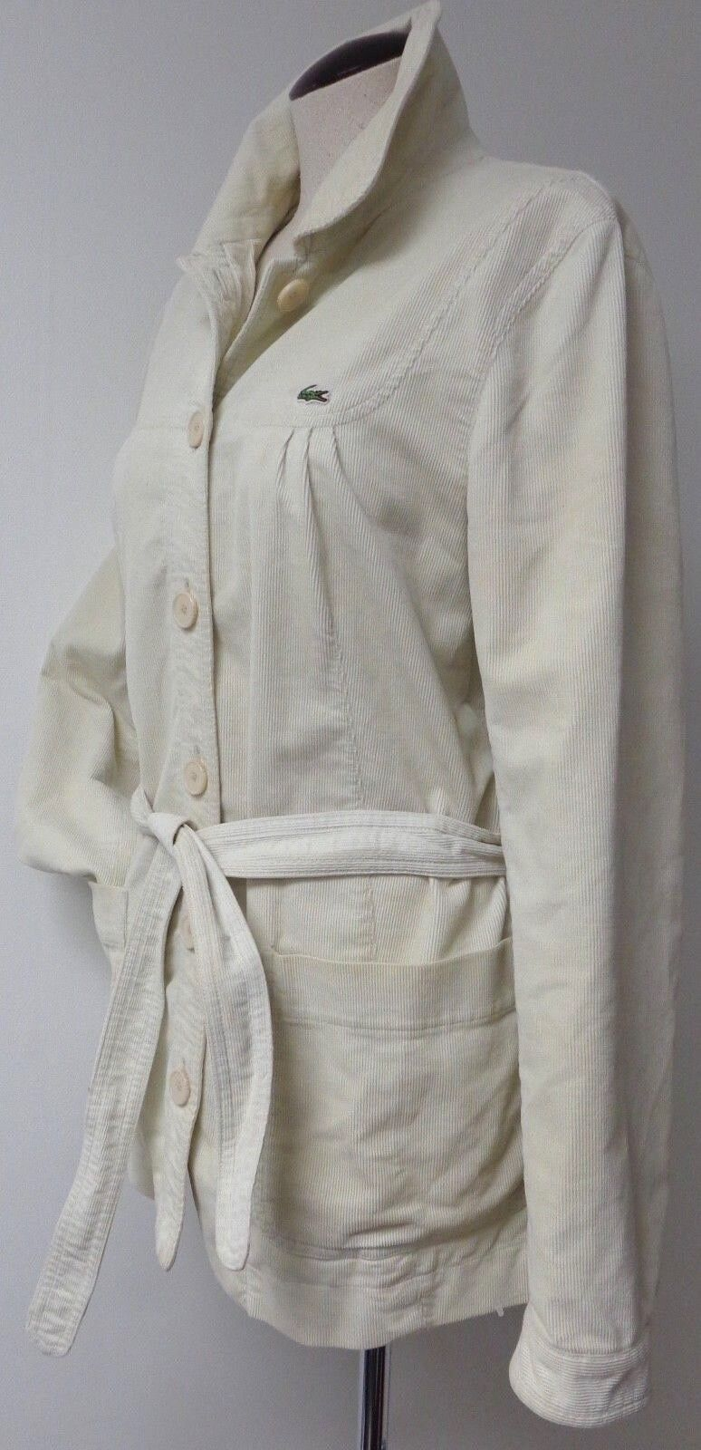 LACOSTE VINTAGE WOMENS BUTTON FRONT BELTED CORDUROY CASUAL COAT HIP LENGTH 44 12