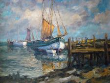 Maritim Bild Segelschiff Hafen Ölbild Öl Leinwand Marinemalerei signiert